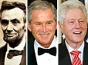 Three different Leaders, Abraham Lincoln, Bush and Clinton